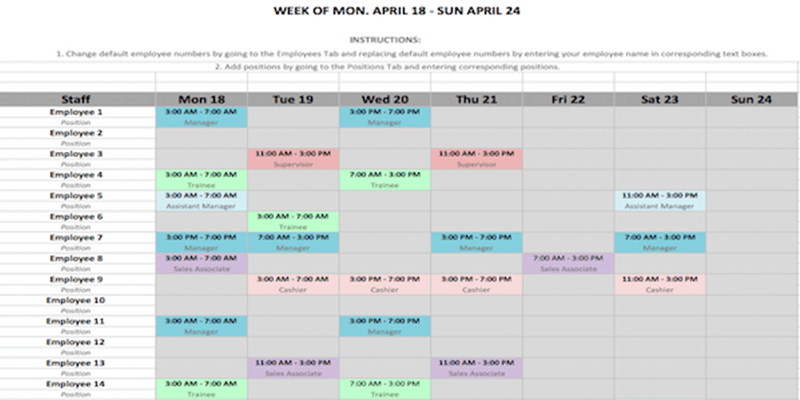 Weekly Schedule Template in Word And Excel Formats
