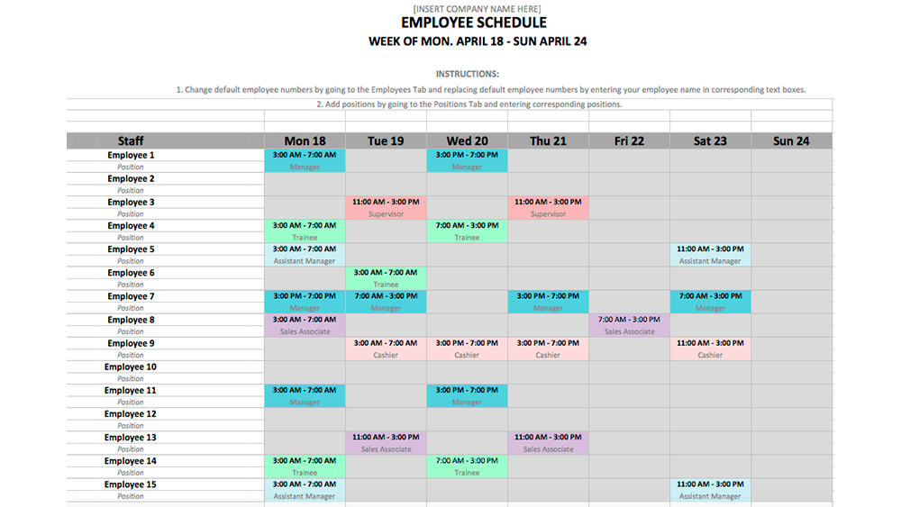Schedule Template in Excel